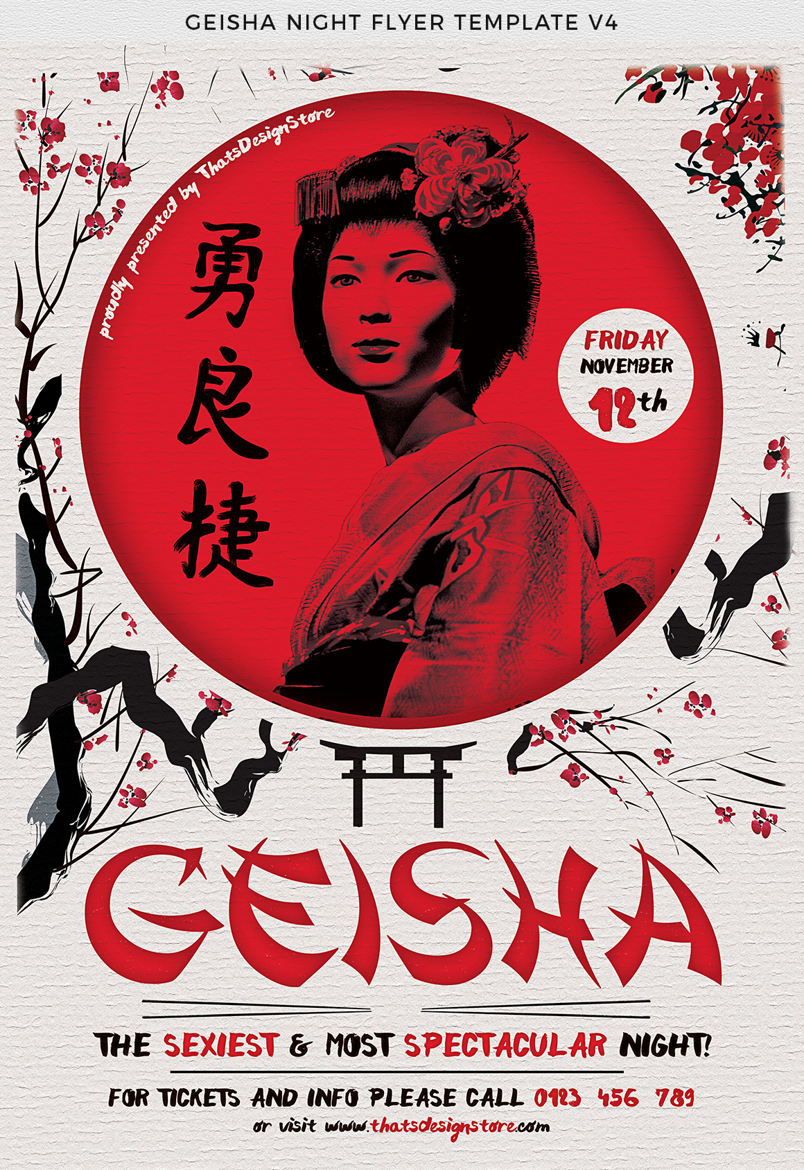Geisha Night Flyer Template V4  example image 7