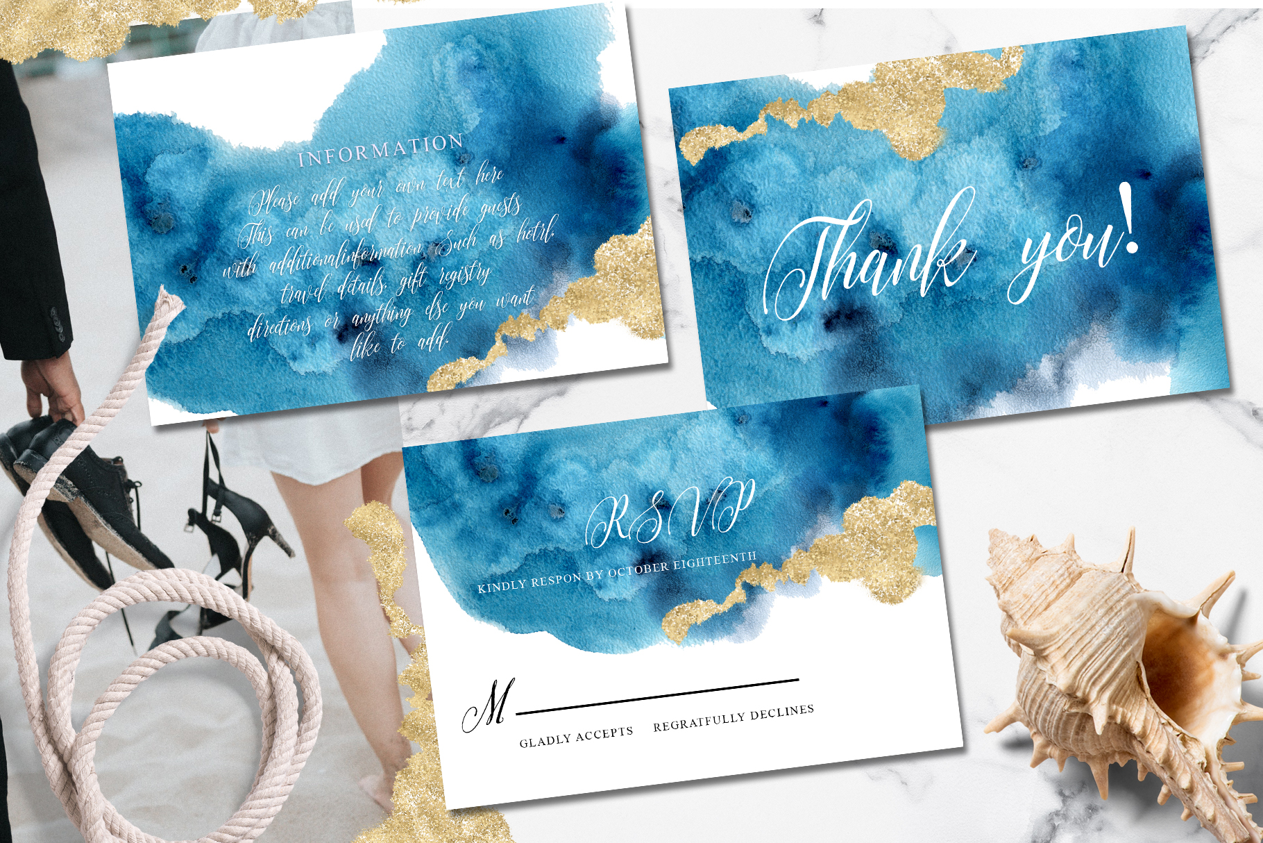 Ocean wedding invitations suit example image 3