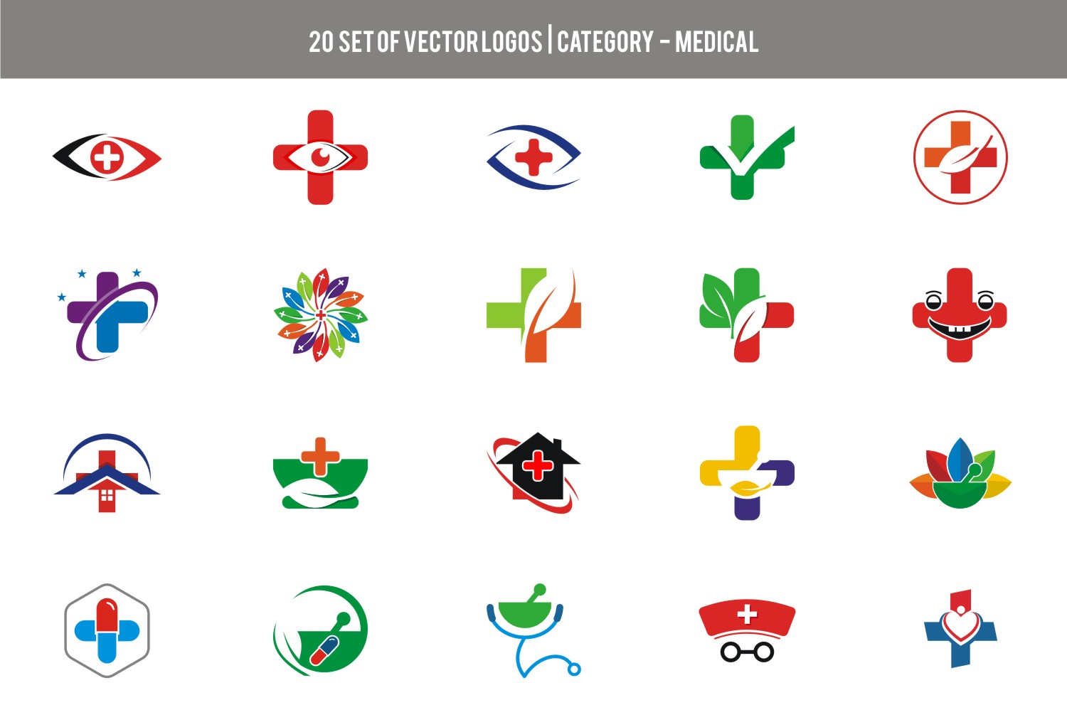 20 Set Stock Vector - Category Medical example image 1