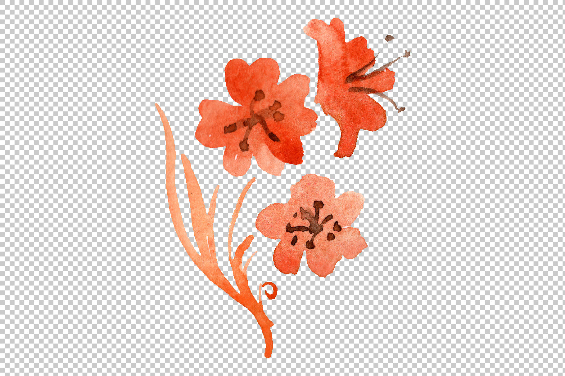 Orchid black Watercolor png example image 8