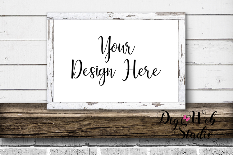 Mockup Bundle -White Rustic Shiplap Wood Signs, Pillow & Mug example image 2