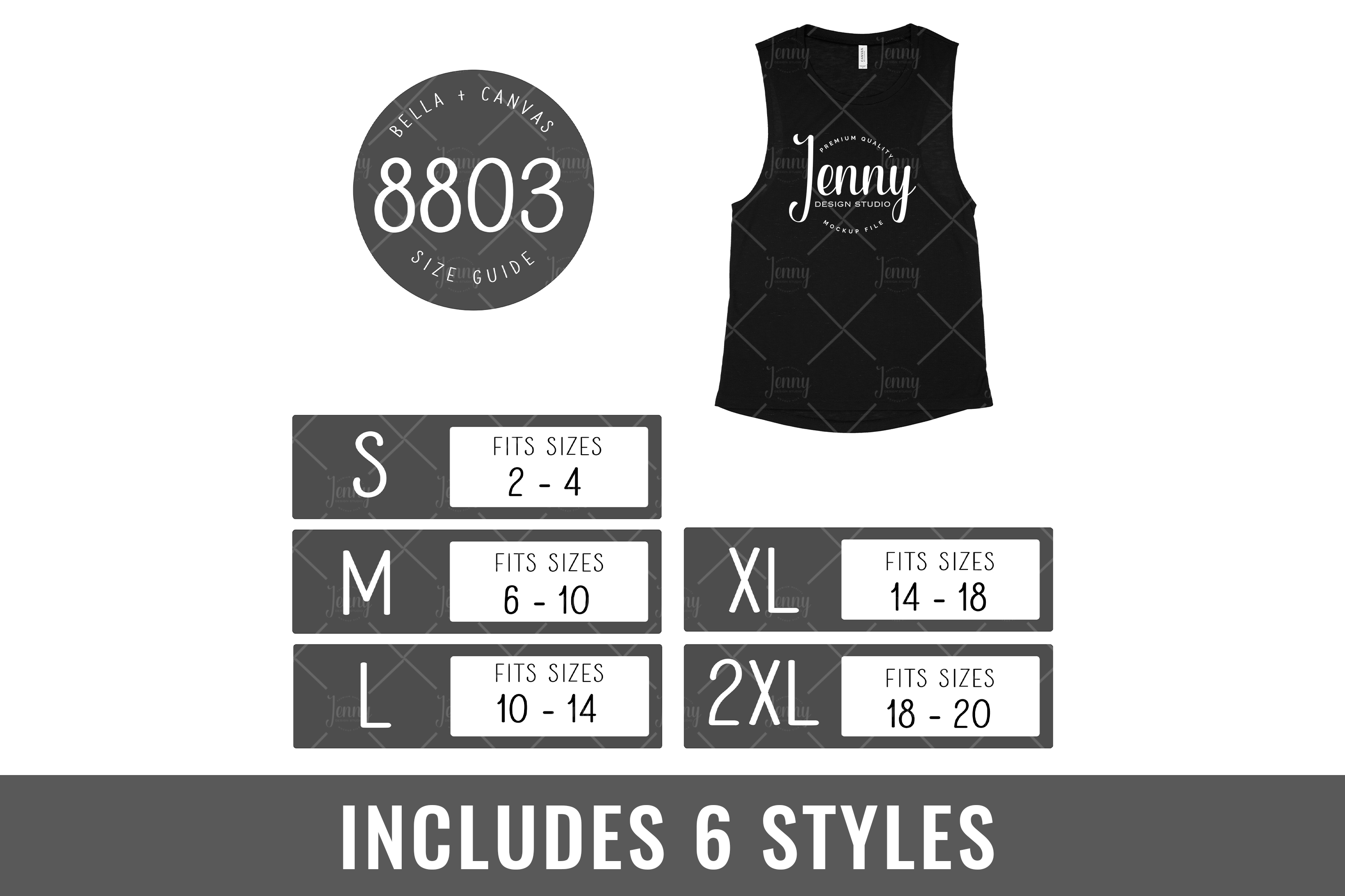Bella Canvas 8803 Tank Top Size Chart Mockup example image 1