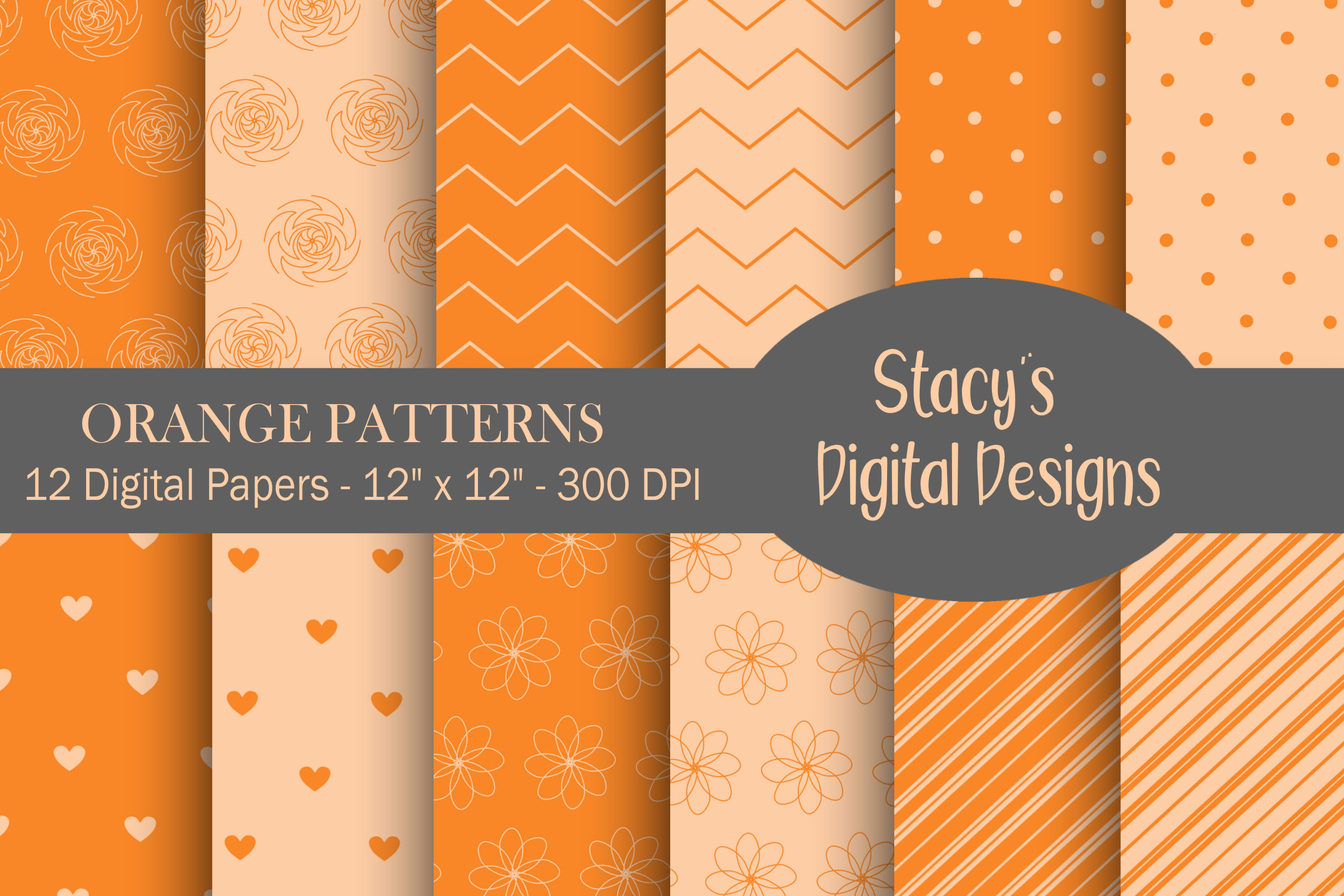 Orange Patterns - 12 Digital Papers example image 1