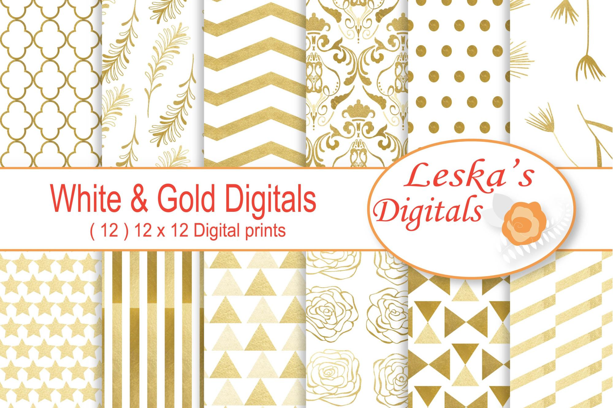 Gold Digital Paper example image 1