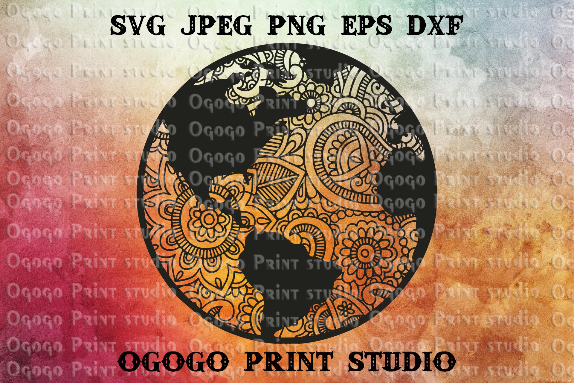 Planet Earth SVG, Zentangle SVG, World Mandala svg, Globe example image 1