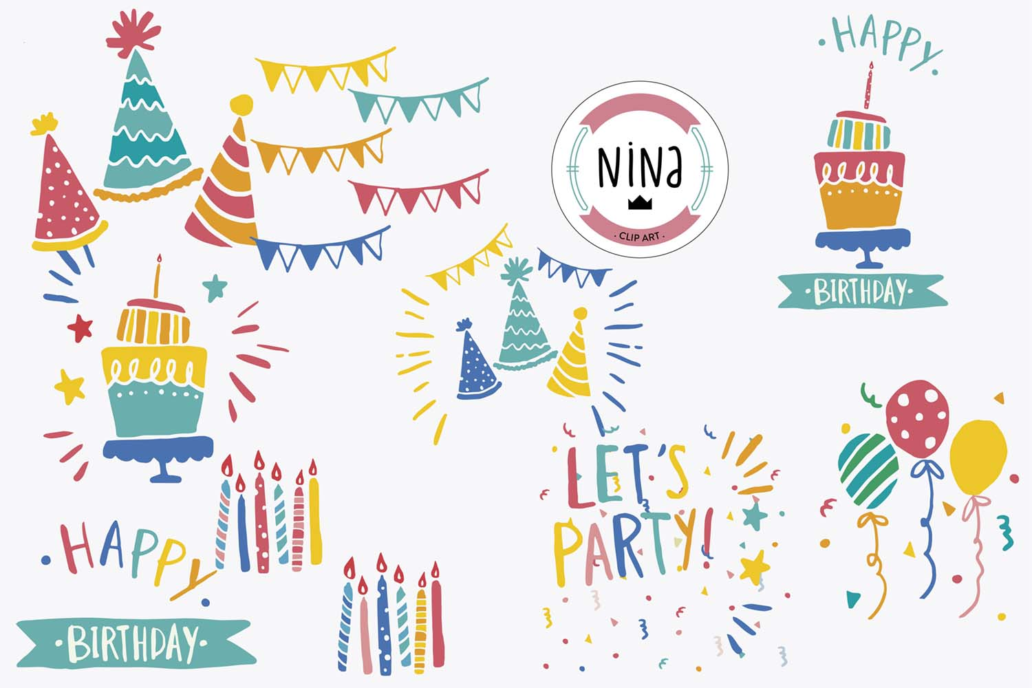 Birthday Party Clip Art, 10 PNG files, Birthday clipart example image 1