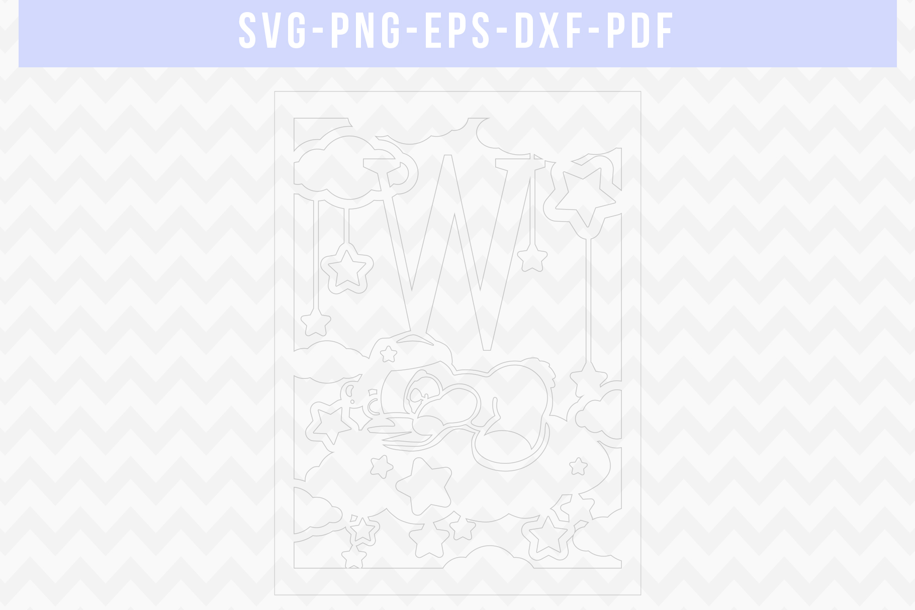 Nursery W Monogram Papercut Template, Kids Room Decor, DXF example image 2