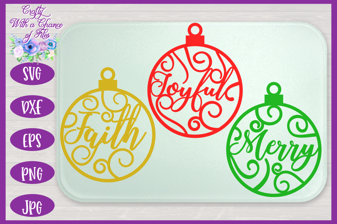 Christmas Word Ornaments SVG | Laser Cut Baubles SVG example image 3