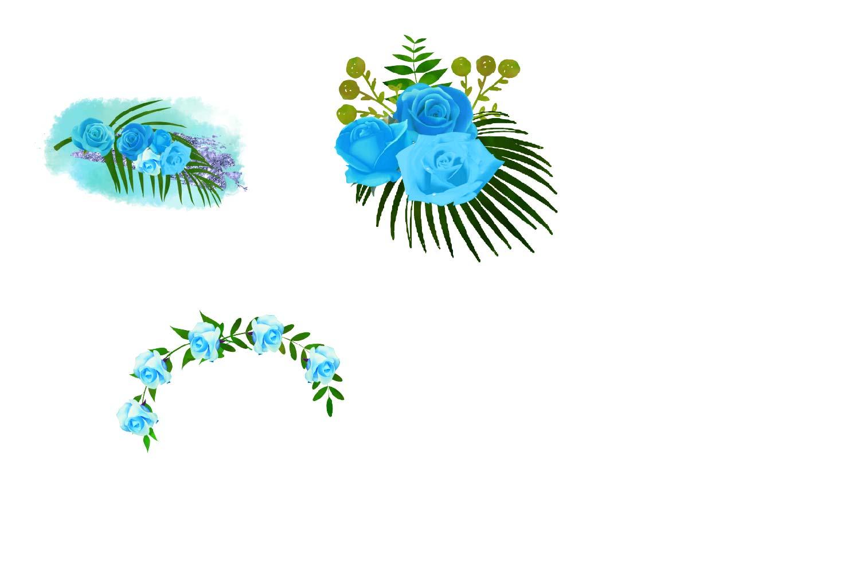 Blue Floral Arrangements Clipart example image 3