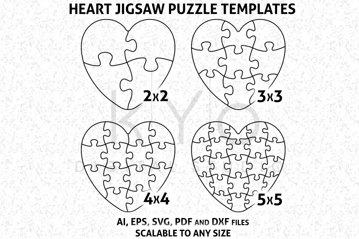 Heart Shape Jigsaw Puzzle Template AI EPS SVG DXF Files Vector