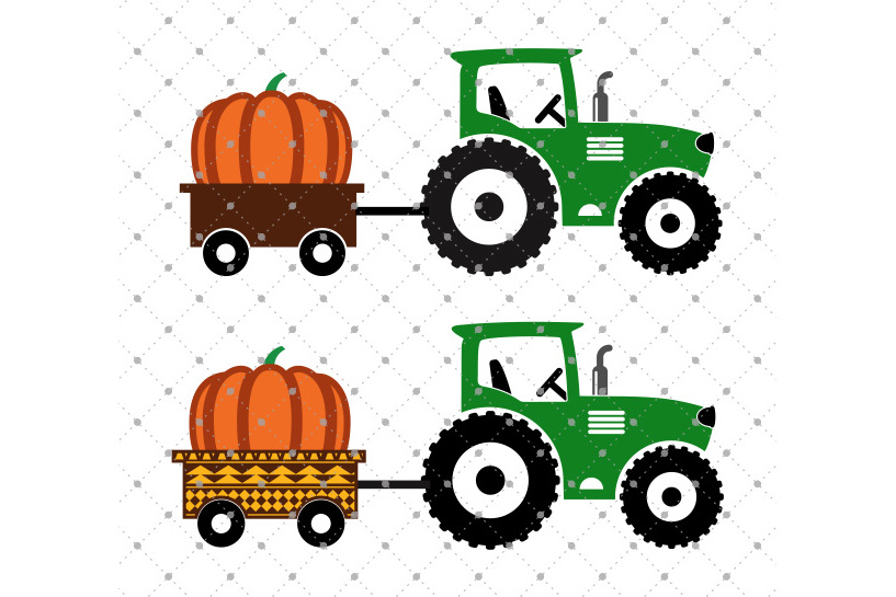 Pumpkin Delivery Tractor SVG Cut files example image 1