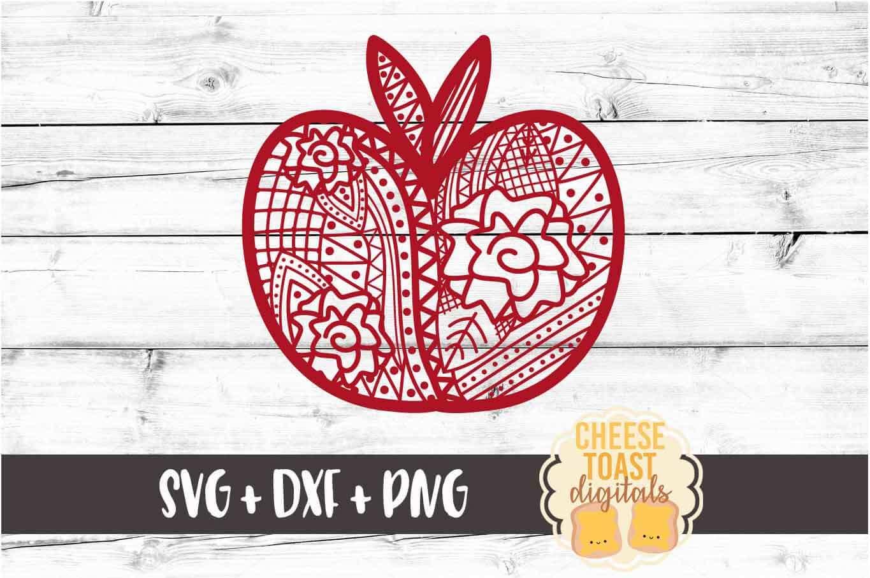 Apple - Zen Doodle Art - Teacher SVG PNG DXF Cut Files example image 2