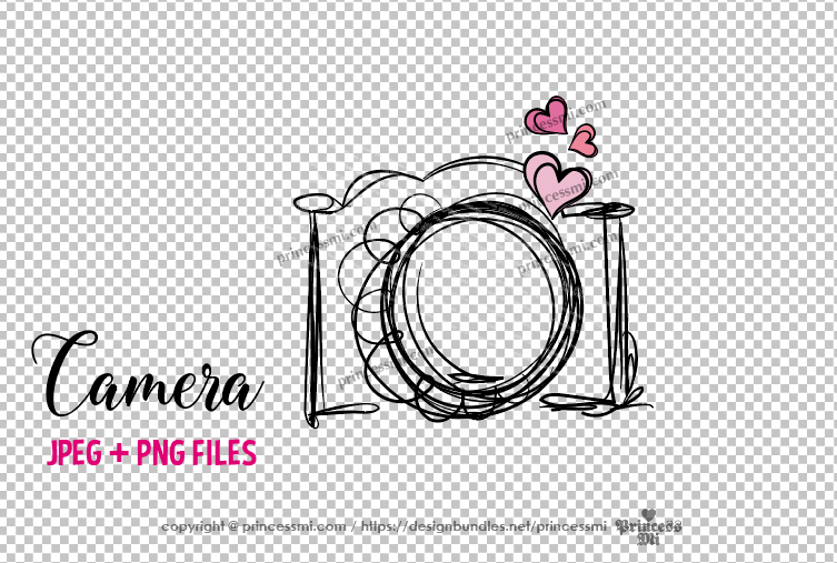 camera clipart - three little hearts example image 3
