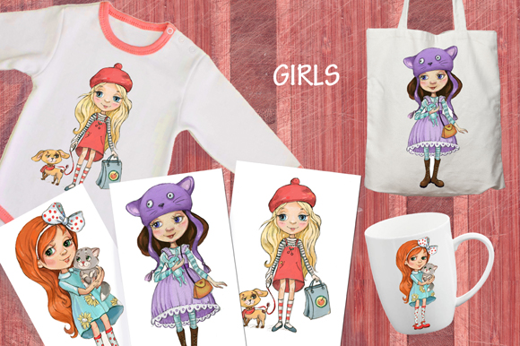 cartoon girls prints example image 1