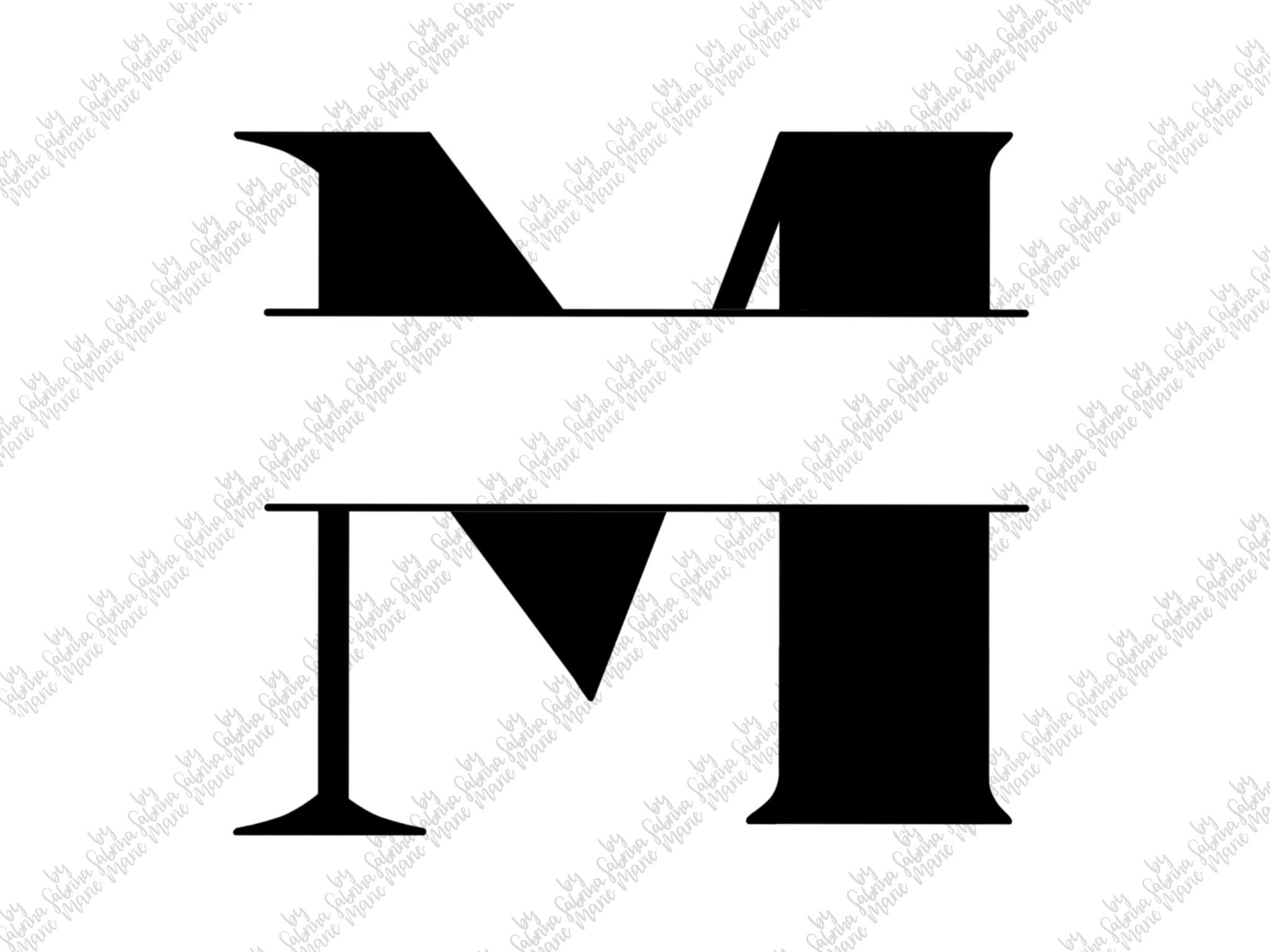 Split Monogram M - Handdrawn - SVG/PNG example image 2