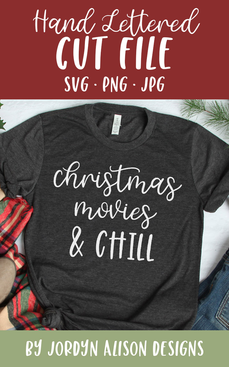Christmas Movies and Chill, Christmas Holiday SVG Cut File example image 2