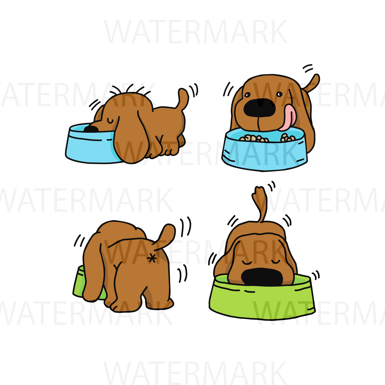 Four Dogs Eating food Color version - SVG/JPG/PNG - Hand Drawing example image 1