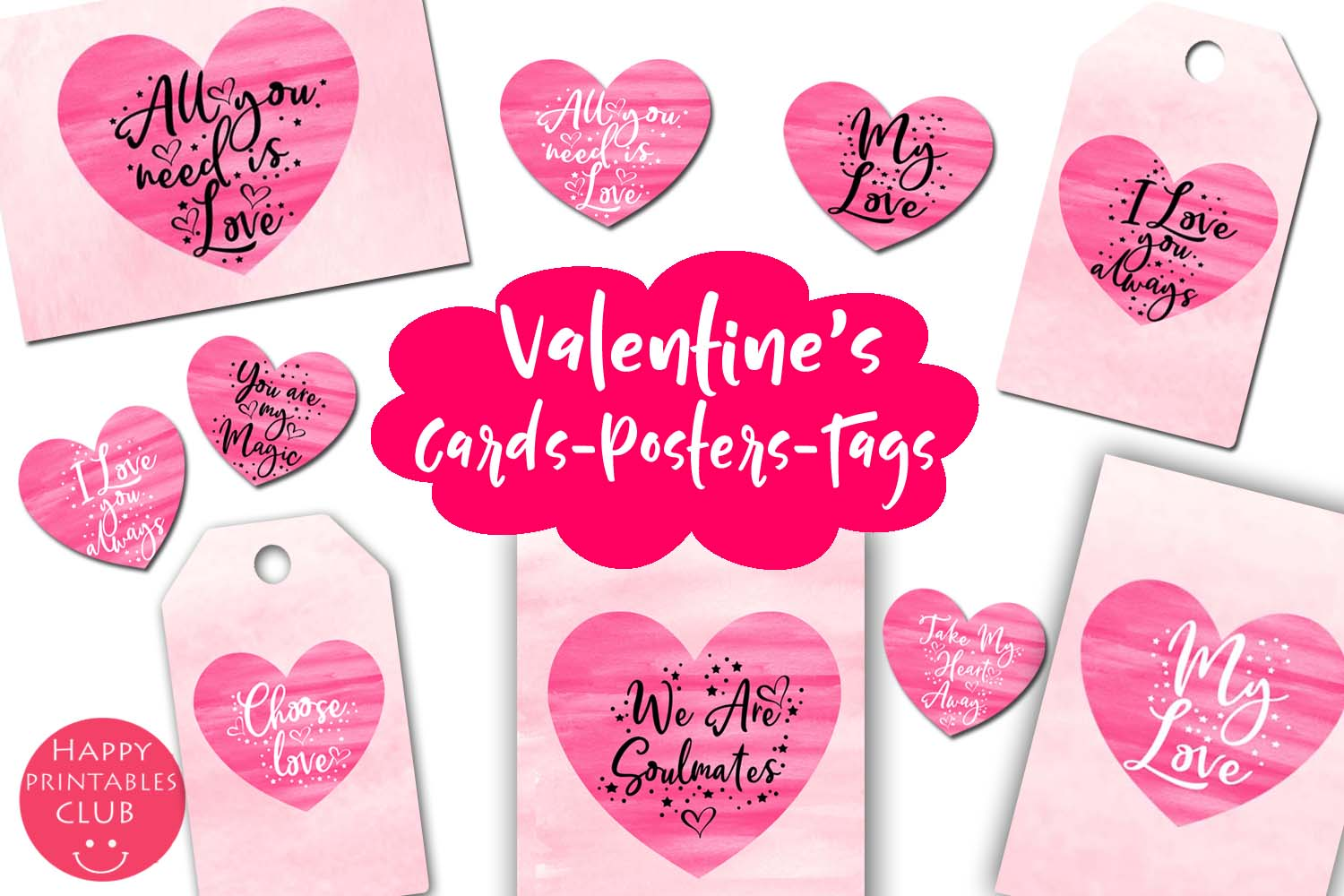 Valentines Day Cards-Posters-Tags-Heart Overlay Cliparts example image 1