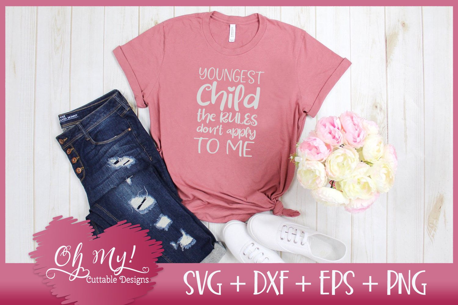 Youngest Child Rules - SVG EPS DXF PNG Cutting File example image 1