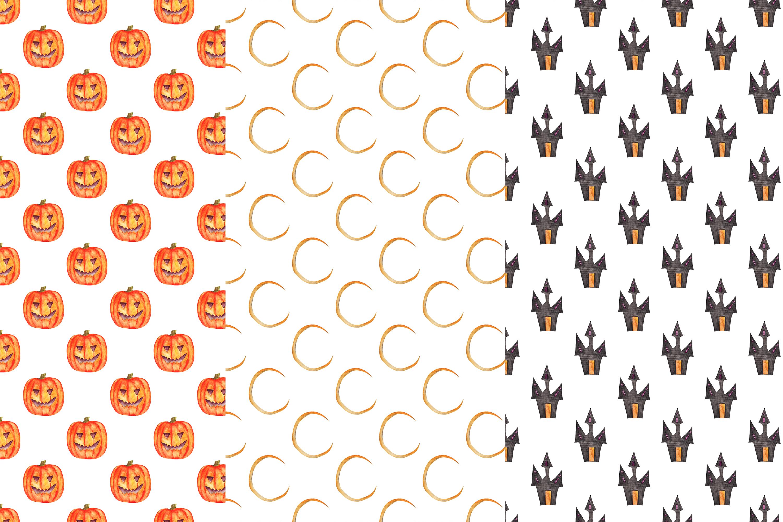 Watercolor Halloween Digital Papers, Halloween Patterns example image 2