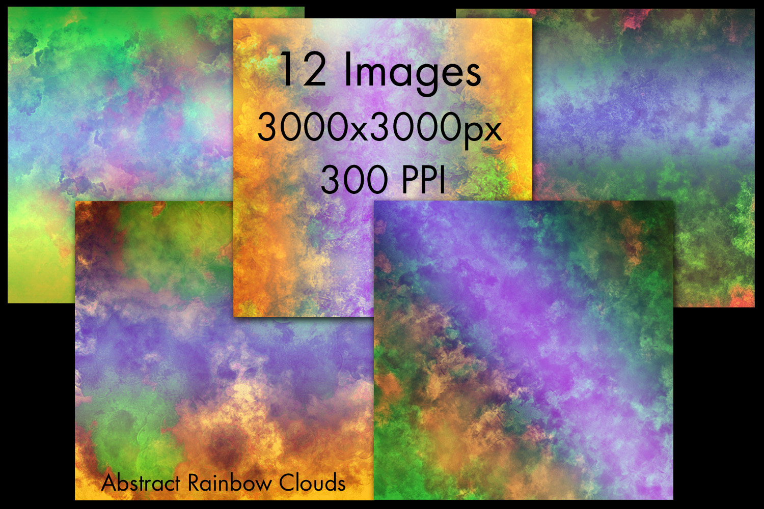 Abstract Rainbow Clouds Backgrounds - 12 Image Set example image 2