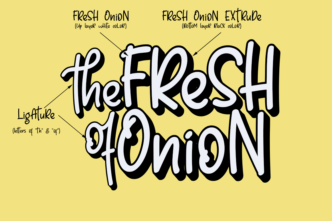 Fresh Onion // Layered Funny Display Font example image 2