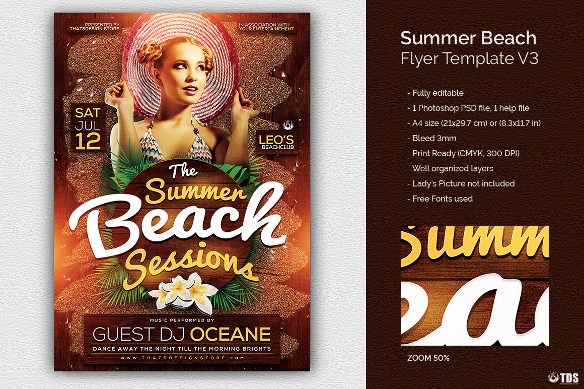 Summer Beach Flyer Template V3 example image 1