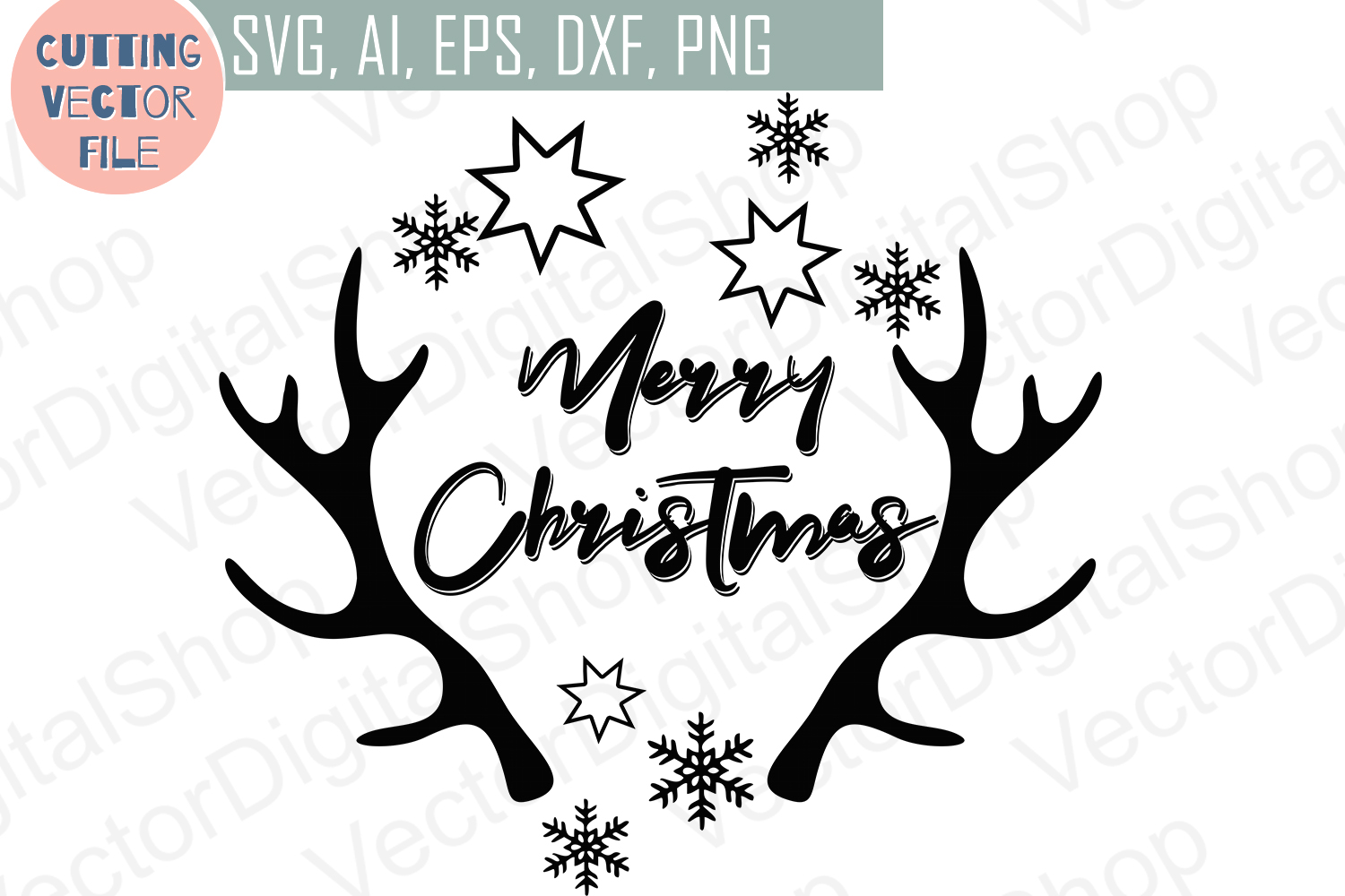 Merry Christmas Antlers SVG, deer, cutting files, Xmas Vector,  SVG, PNG, JPG, EPS, AI, DXF example image 2