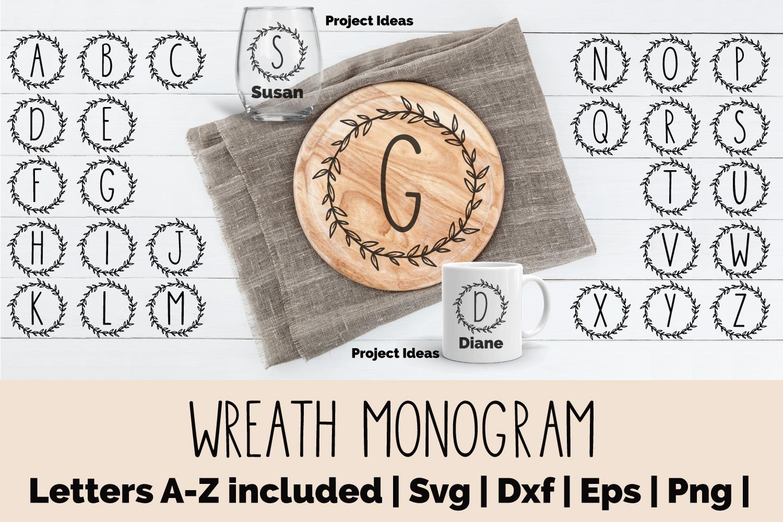 Wreath Monogram Bundle - SVG, EPS, DXF, PNG example image 1