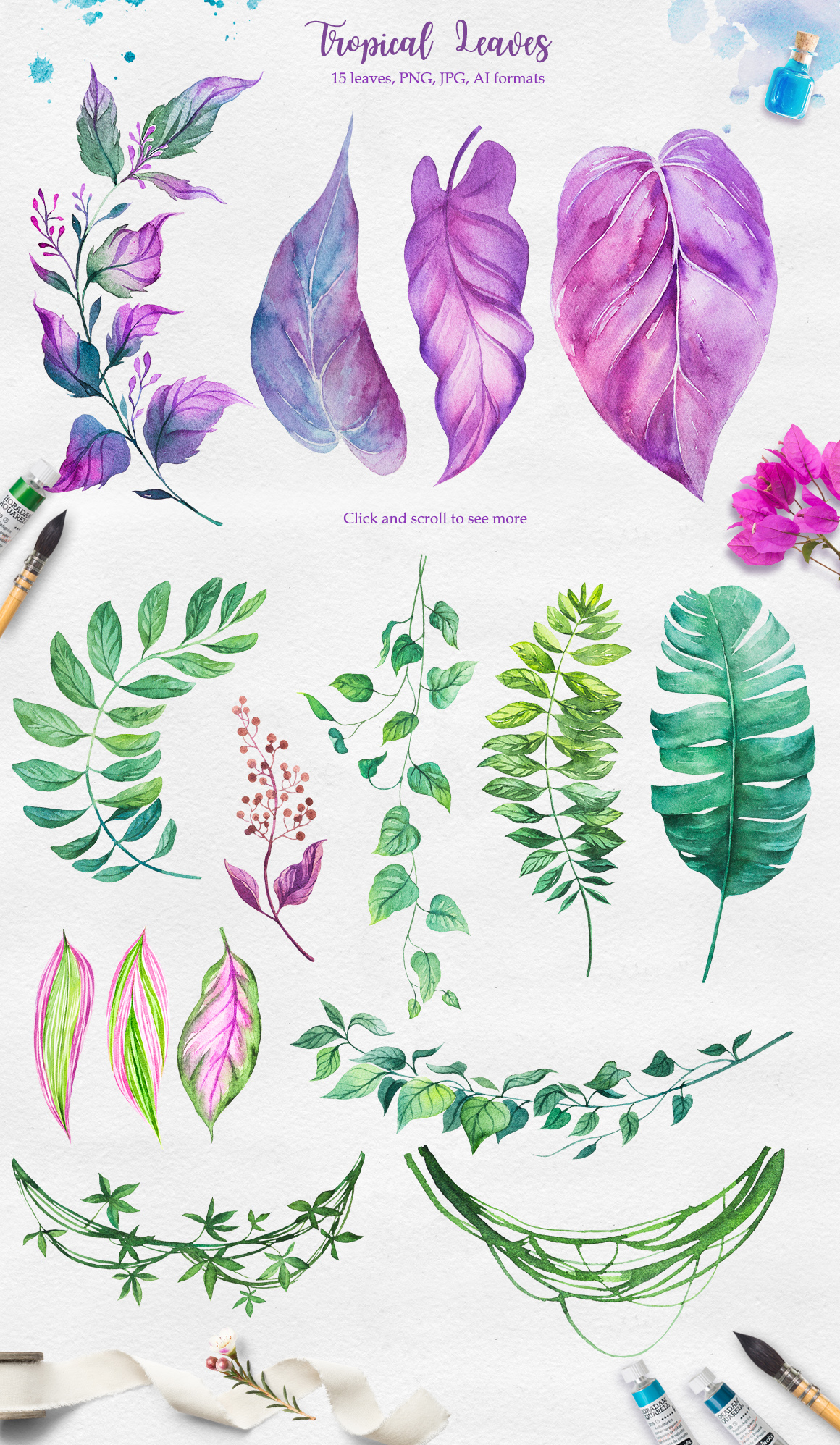 Tropical. Watercolor illustrations. example image 9