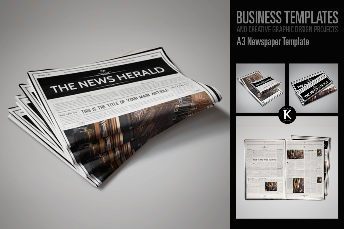 A3 Newspaper Template example image 1
