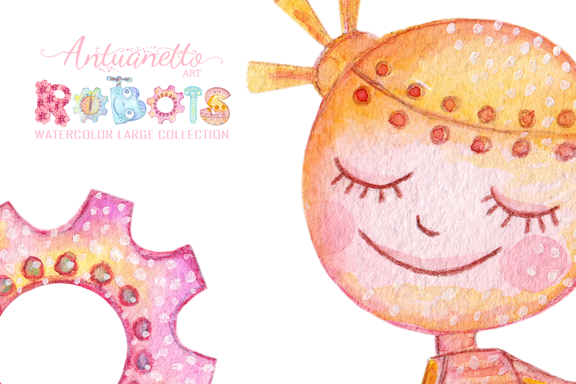 Watercolor Robots Party example image 4
