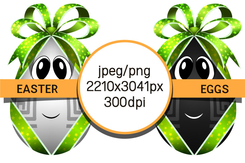 Easter eggs with bows. Egg characters for Easter in png, jpg example image 2