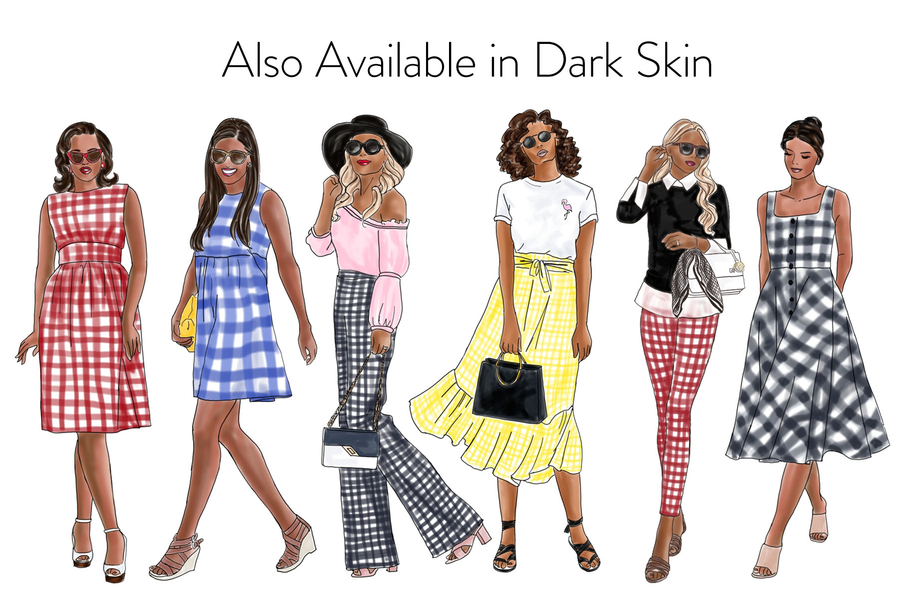Fashion illustration clipart - Girls in Gingham - Light Skin example image 4