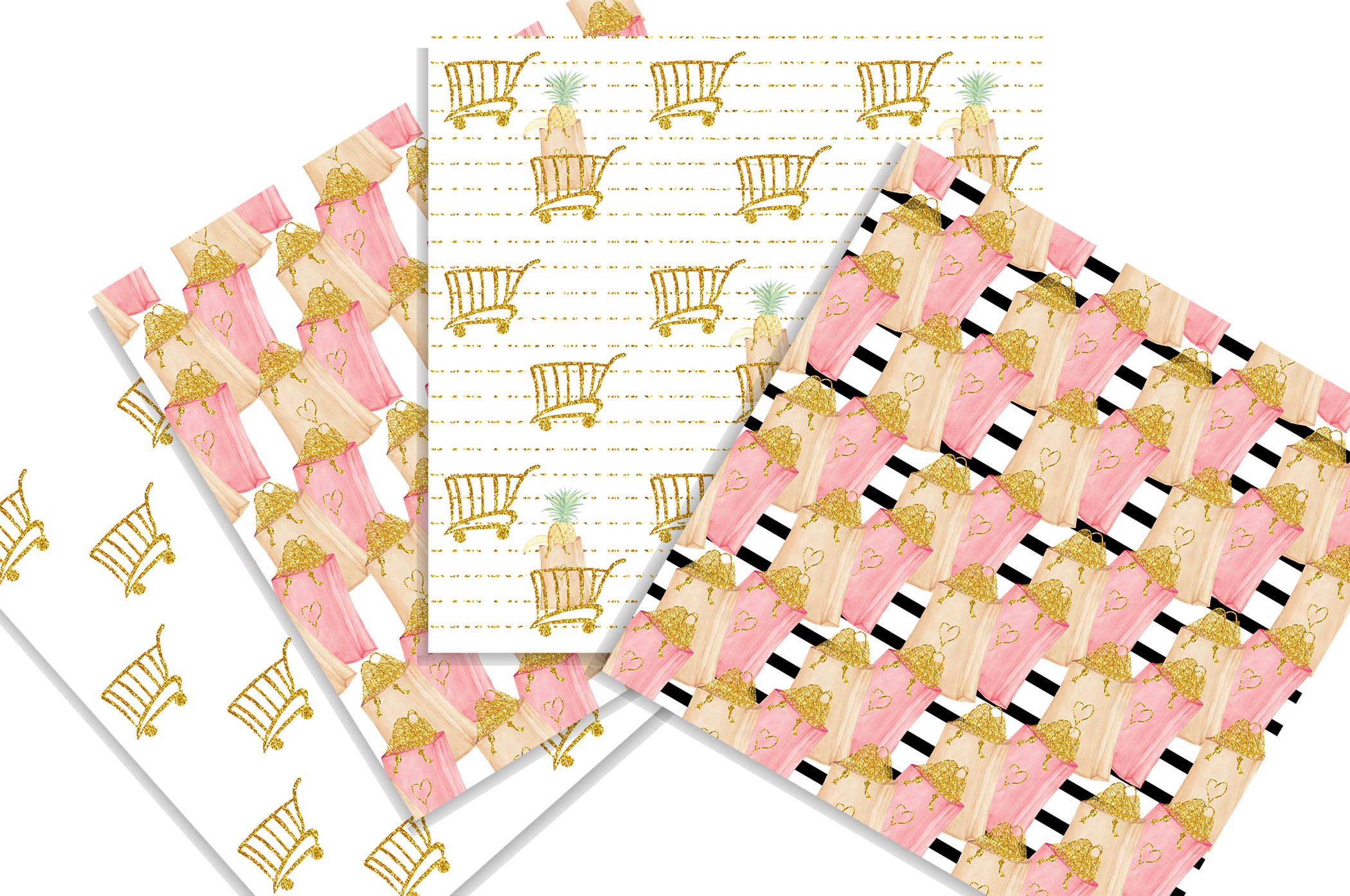 Summer Shopping digital background papers example image 3