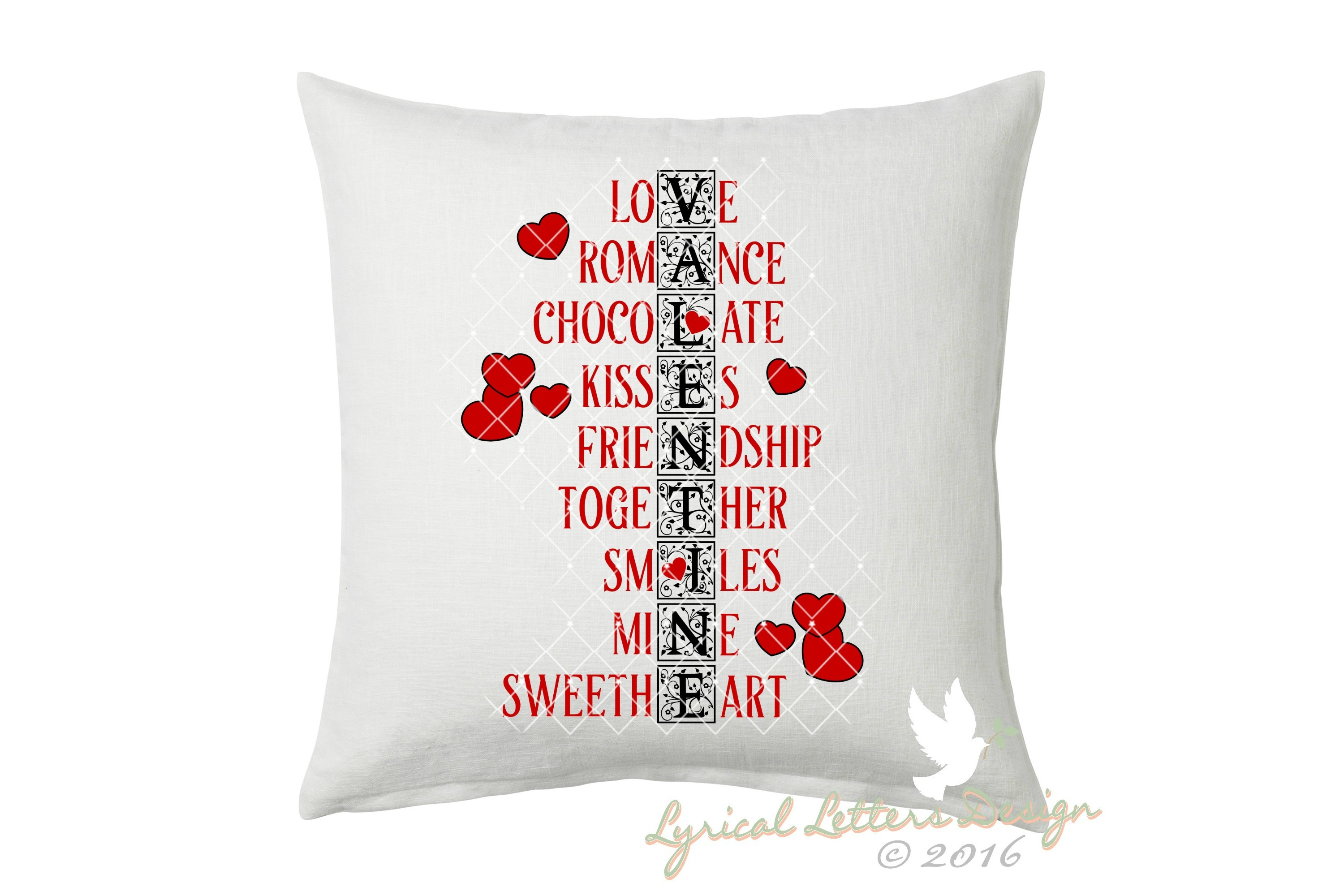 Valentine Word Art Valentine's Day SVG DXF Cut File LL102G example image 2
