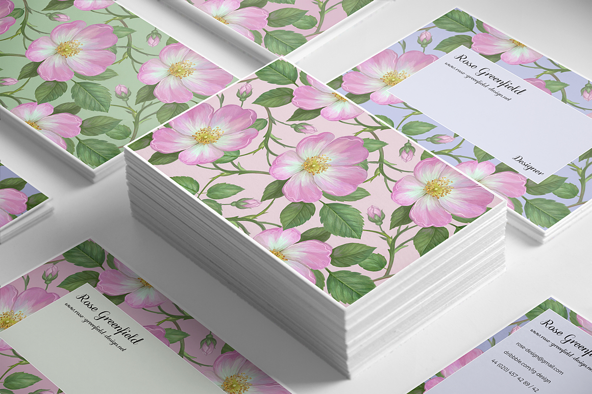 Pink Wild Rose PSD Business Card Template example image 4
