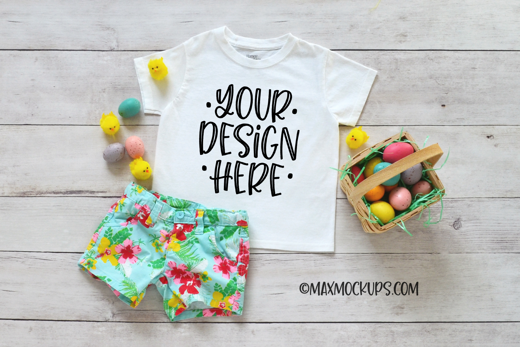 White kids shirt Easter mockup, shorts, Easter eggs and chic example image 1