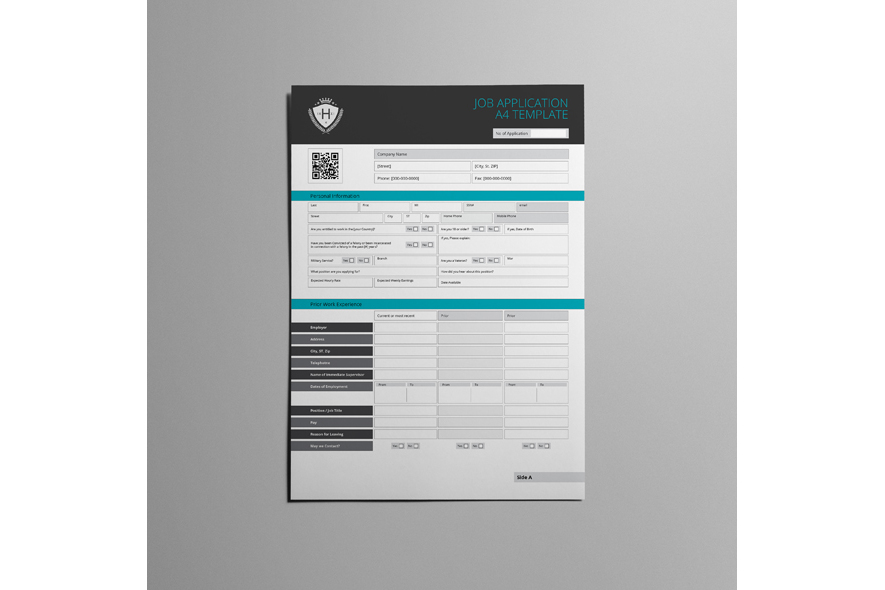 Job Application A4 Template example image 3