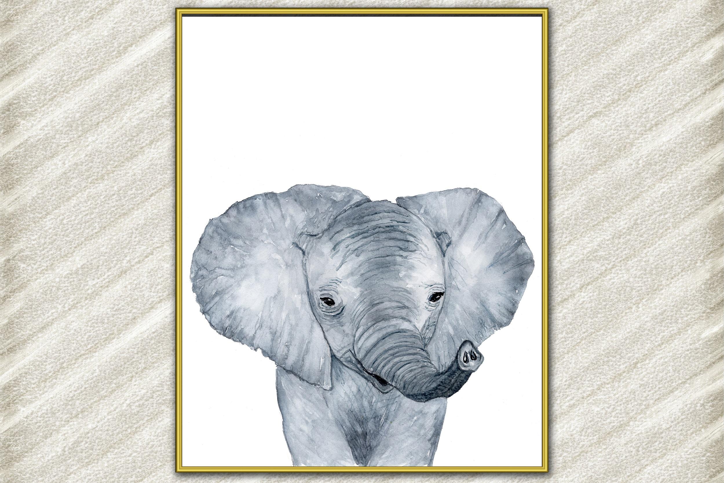 Little Elephant Poster,Watercolor Animal,Wild Baby Animal example image 1