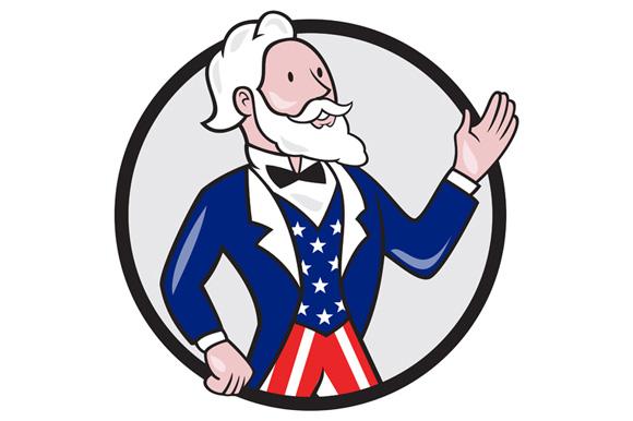 Uncle Sam American Waving Hand Circle Cartoon example image 1