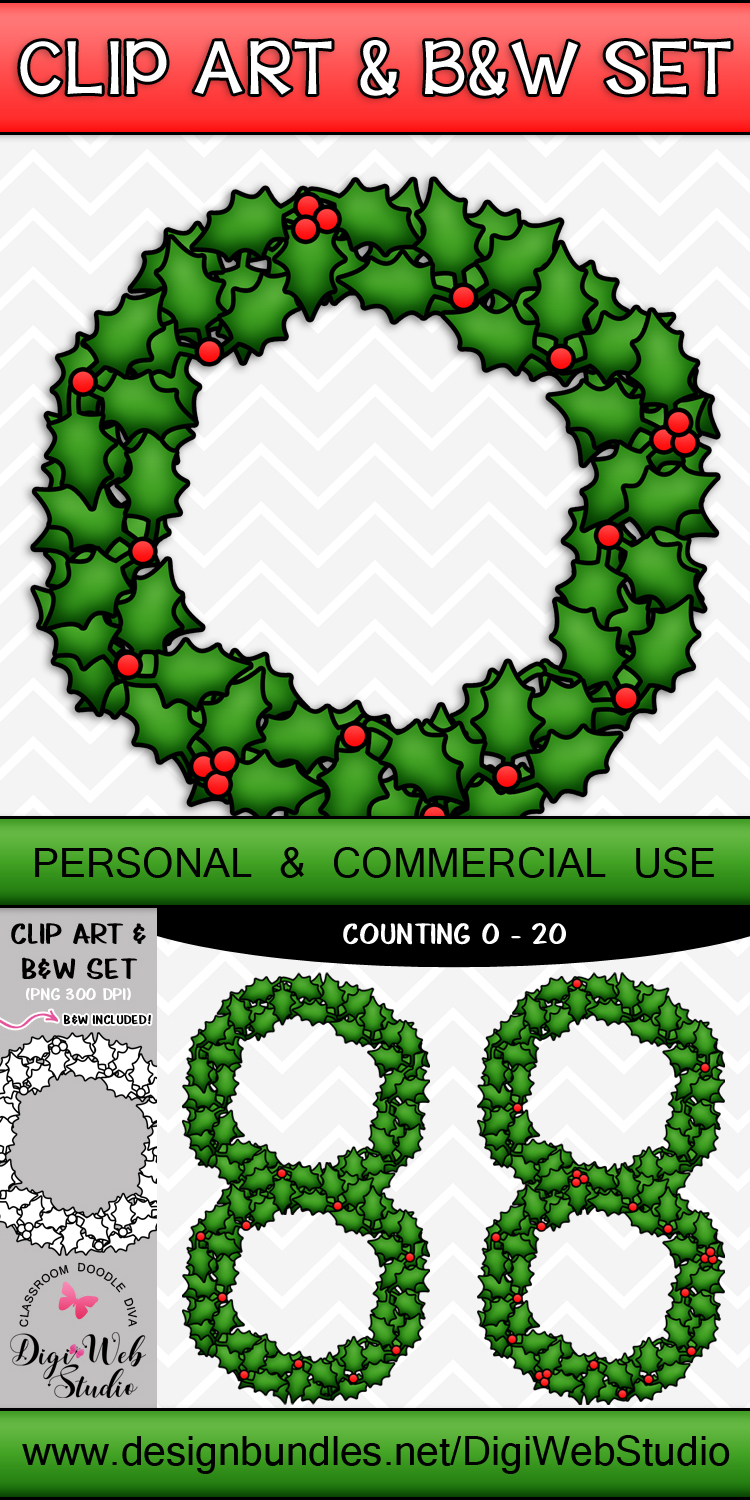 Clip Art / Illustrations - 0-20 Counting Holly Berries example image 2