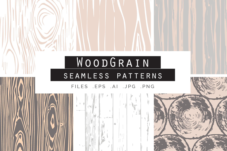 Woodgrain Seamless Vector Patterns example image 1