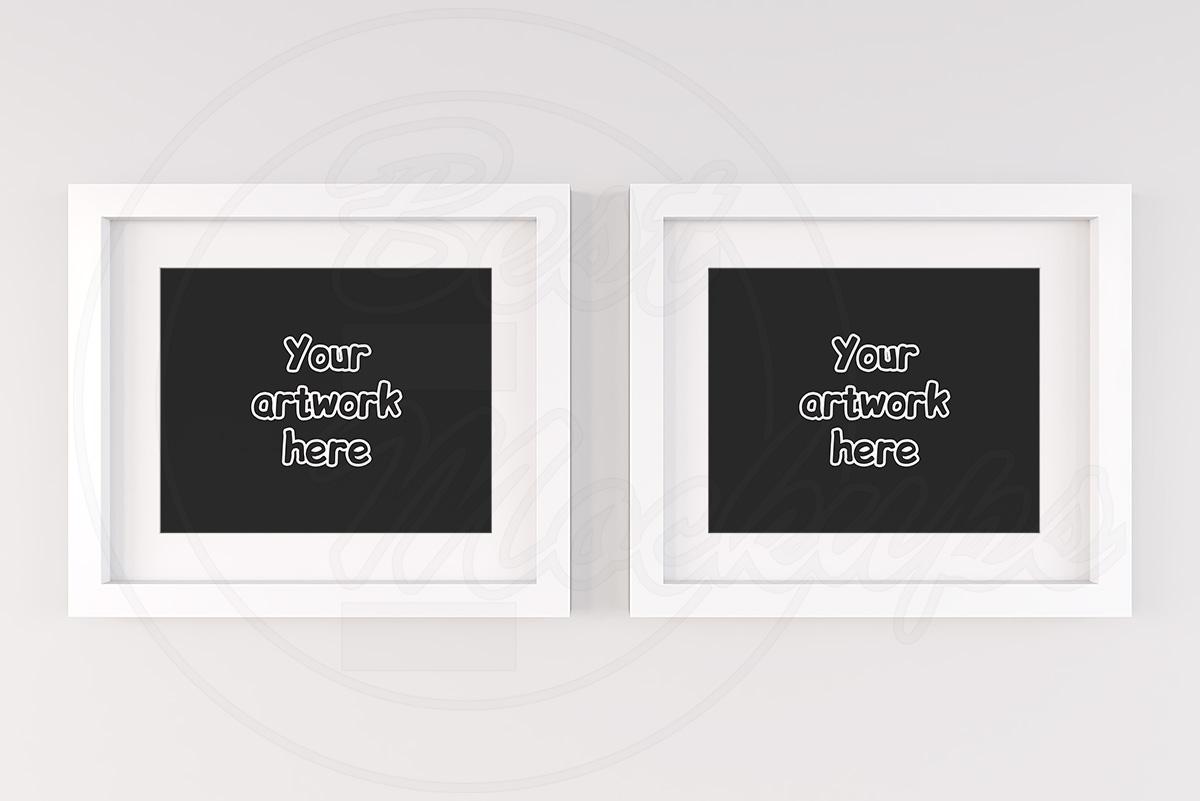 Set of 2 white empty frames mock up example image 1