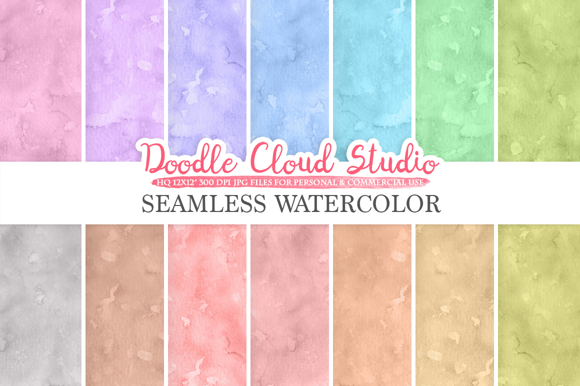 Seamless Watercolor digital paper pack, Seamless Backgrounds, pastel watercolor printables, Instant Download for Personal & Commercial Use example image 1