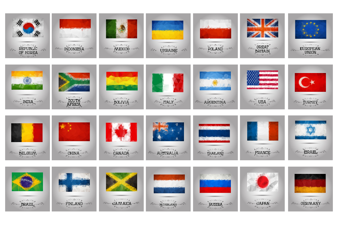 Polygonal flags vector set. example image 4