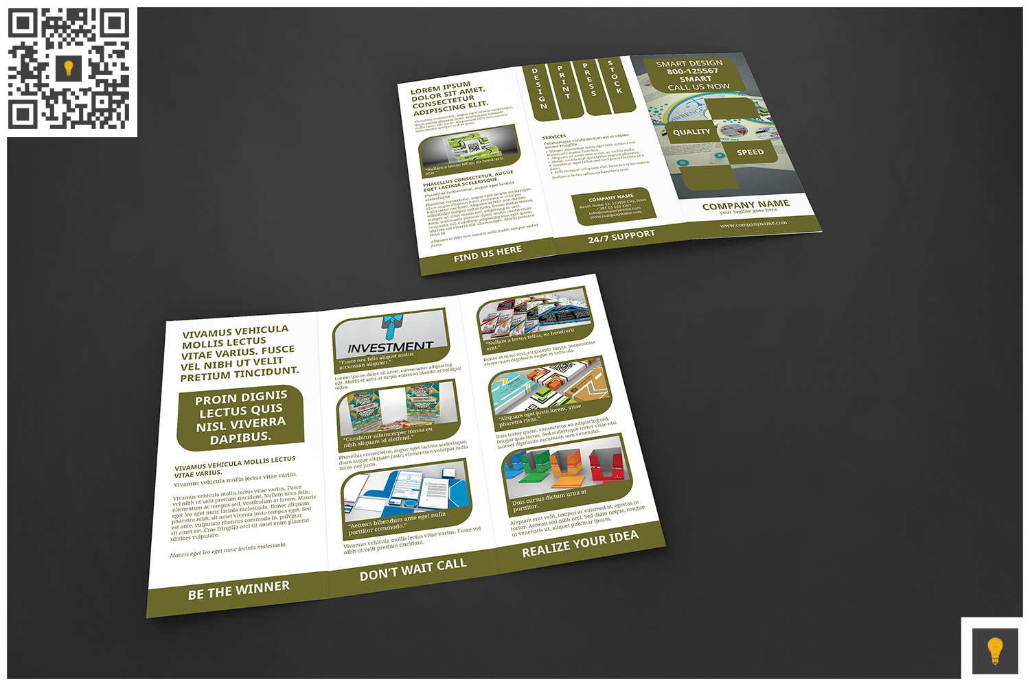 Corporate Rounded Geometric Trifold example image 2