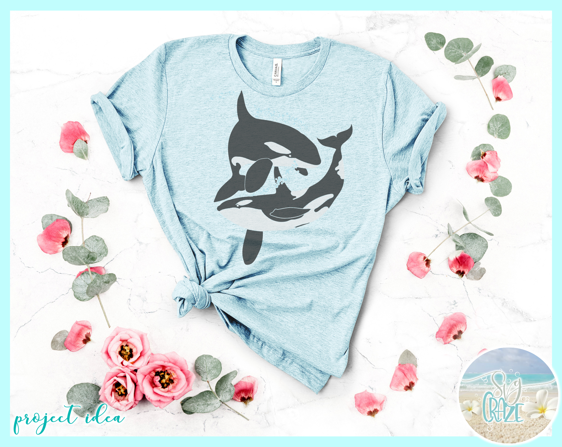 Orcas At Play Killer Whale Nautical Ocean Animal SVG example image 3