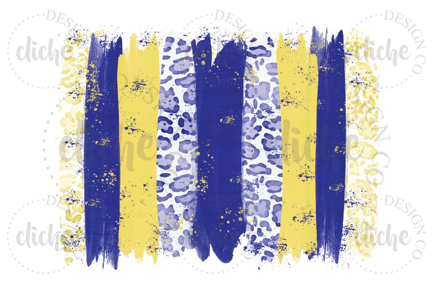 Blue Yellow Paint Stroke Sublimation Design Background example image 1
