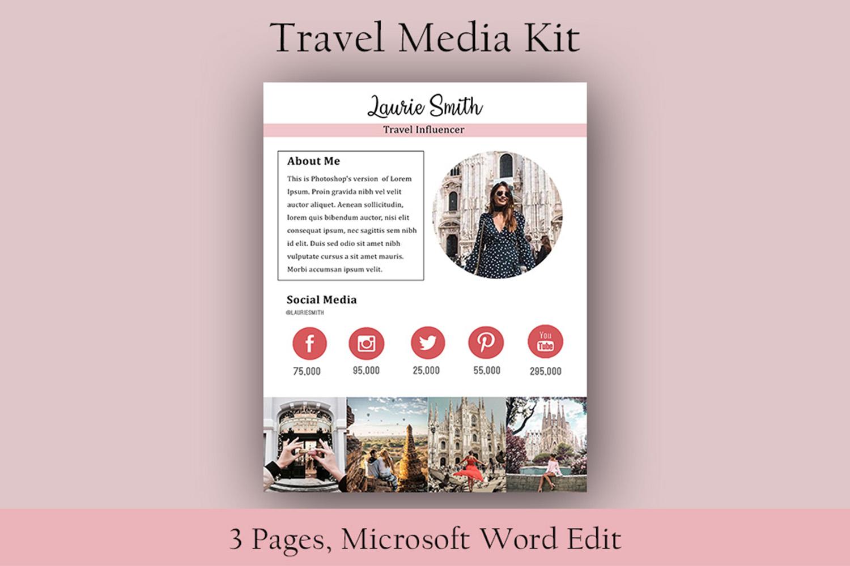 Influencer Media Kit, Travel Media Kit, Microsoft Word Edit example image 3